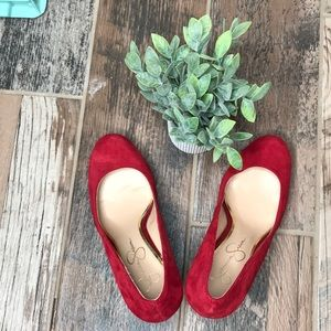 Jessica Simpson • Red Suede Sz 8 Wedge